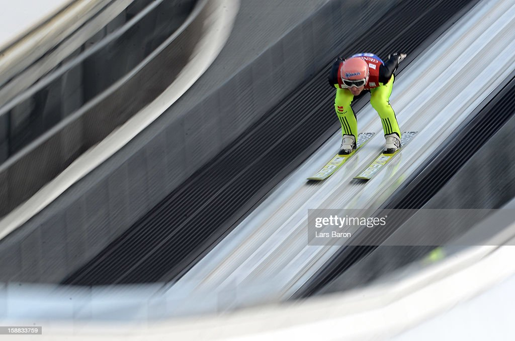 Severin Freund of Germany competes during the qualification round for the FIS Ski Jumping World Cup event at the 61st Four Hills ski jumping tournament at Olympiaschanze on December 31, 2012 in Garmisch-Partenkirchen, Germany.