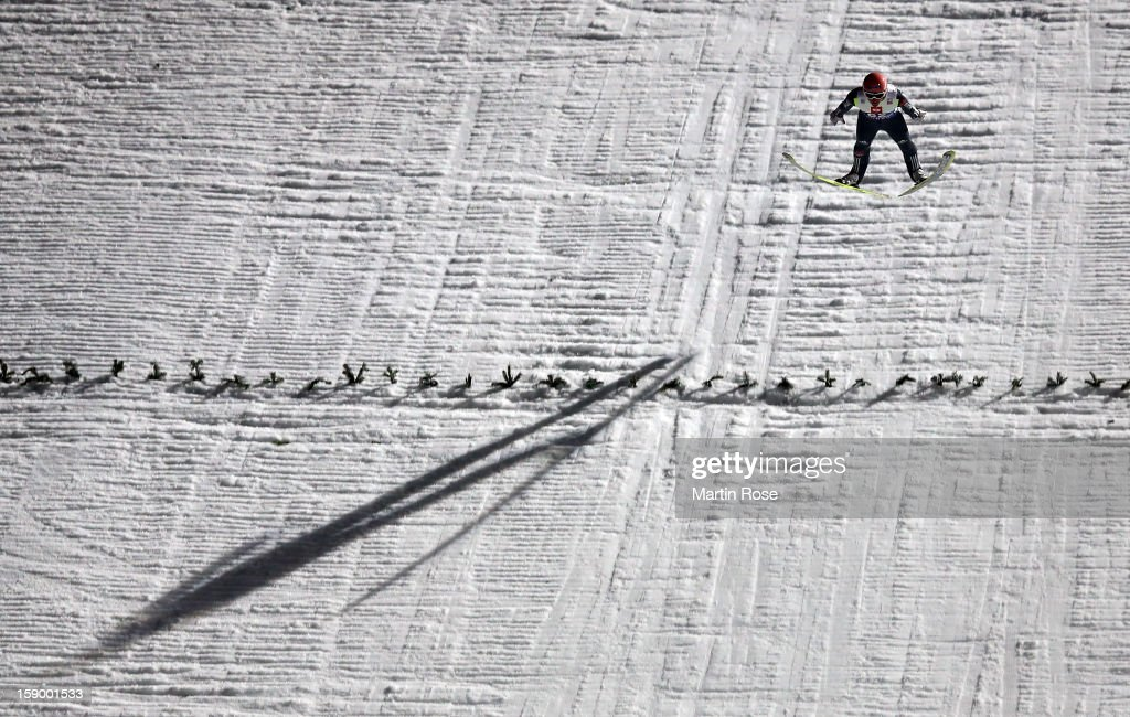 Severin Freund of Germany competes during the qualification round of the FIS Ski Jumping World Cup event at the 61st Four Hills ski jumping tournament at Paul-Ausserleitner-Schanze on January 5, 2013 in Bischofshofen, Austria.