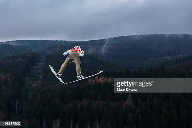 Severin Freund of Germany competes during the training session at the FIS World Cup Ski Jumping day two on November 21 2015 in Klingenthal Germany