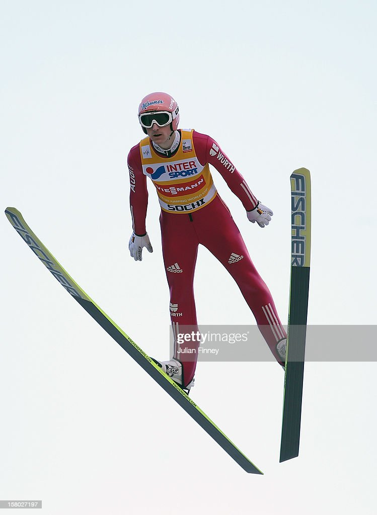 Severin Freund of Germany competes in a Ski Jump during the FIS Ski Jumping World Cup at the RusSki Gorki venue on December 9, 2012 in Sochi, Russia.