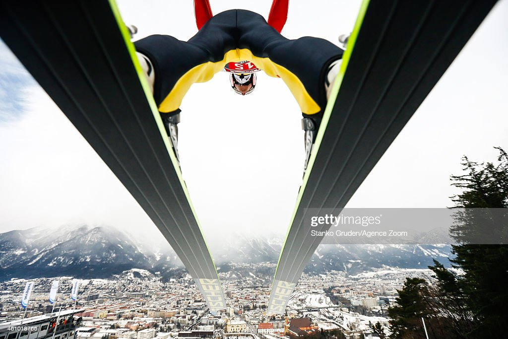 <a gi-track='captionPersonalityLinkClicked' href=/galleries/search?phrase=Severin+Freund&family=editorial&specificpeople=4780594 ng-click='$event.stopPropagation()'>Severin Freund</a> of Germany during the FIS Ski Jumping World Cup Vierschanzentournee (Four Hills Tournament) on January 04, 2015 in Innsbruck, Austria.
