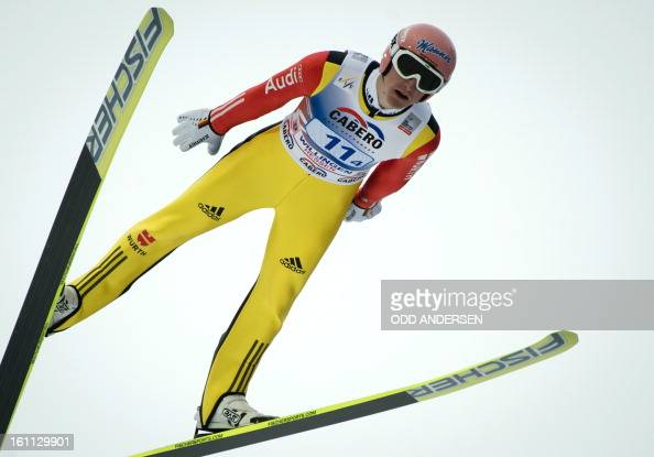 Severin Freund of Germany jumps during the FIS Ski Jumping World Cup team competition on the Muehlenkopfschanze hill in Willingen western Germany on...