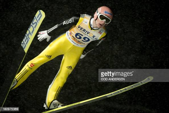 Severin Freund of Germany jumps during the qualifying run at the FIS Ski Jumping World Cup on the Muehlenkopfschanze hill in Willingen western...