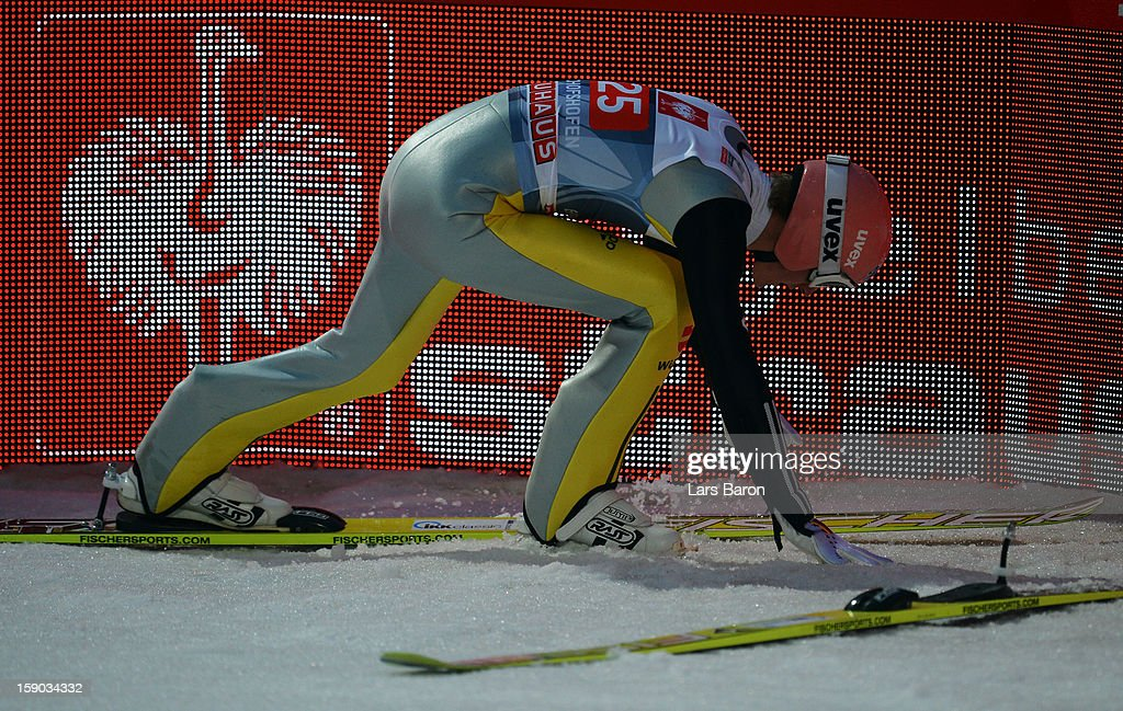 Severin Freund of Germany looks dejected during the first round for the FIS Ski Jumping World Cup event of the 61st Four Hills ski jumping tournament at Paul-Ausserleitner-Schanze on January 6, 2013 in Bischofshofen, Austria.