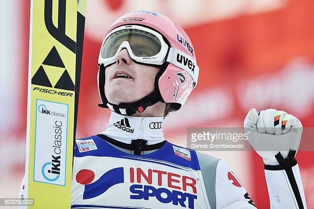 Severin Freund of Germany reacts after finishing second in the Innsbruck 64th Four Hills Tournament ski jumping event on January 3 2016 in Innsbruck...