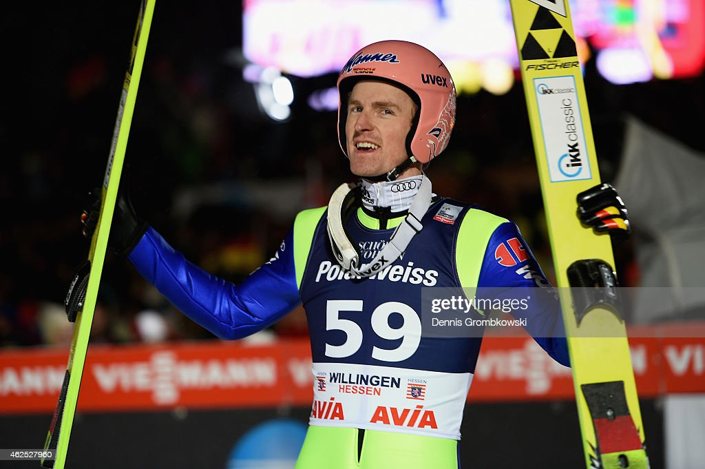<a gi-track='captionPersonalityLinkClicked' href=/galleries/search?phrase=Severin+Freund&family=editorial&specificpeople=4780594 ng-click='$event.stopPropagation()'>Severin Freund</a> of Germany reacts after his final jump on Day One of the FIS Ski Jumping World Cup on January 30, 2015 in Willingen, Germany.