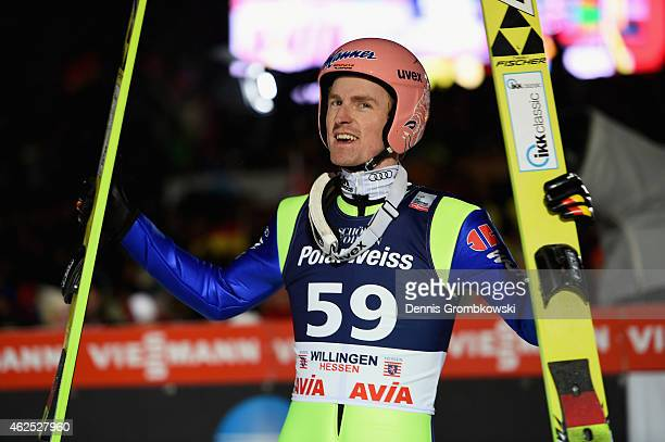 Severin Freund of Germany reacts after his final jump on Day One of the FIS Ski Jumping World Cup on January 30 2015 in Willingen Germany