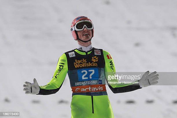 Severin Freund of Germany reacts after the final round at the FIS Ski Jumping World Cup event of the 60th Four Hills ski jumping tournament at...