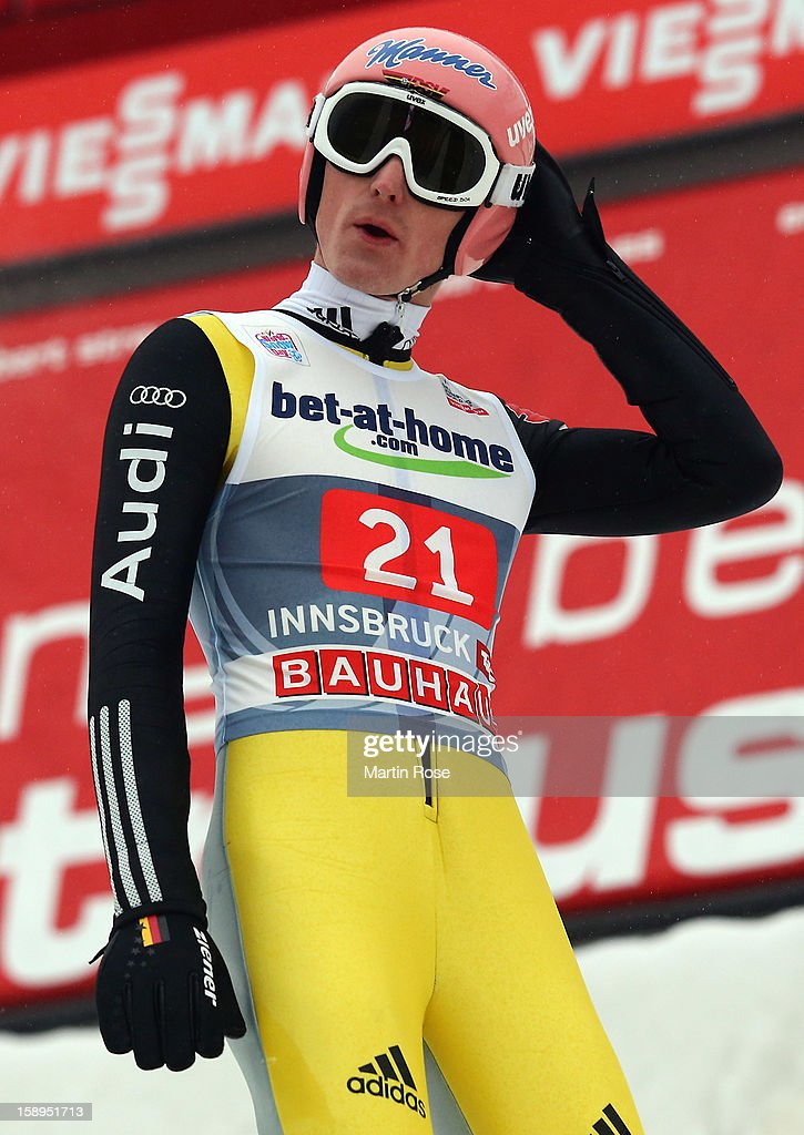 Severin Freund of Germany reacts during the final round for the FIS Ski Jumping World Cup event of the 61st Four Hills ski jumping tournament at Bergisel-Stadion on January 4, 2013 in Innsbruck, Austria.