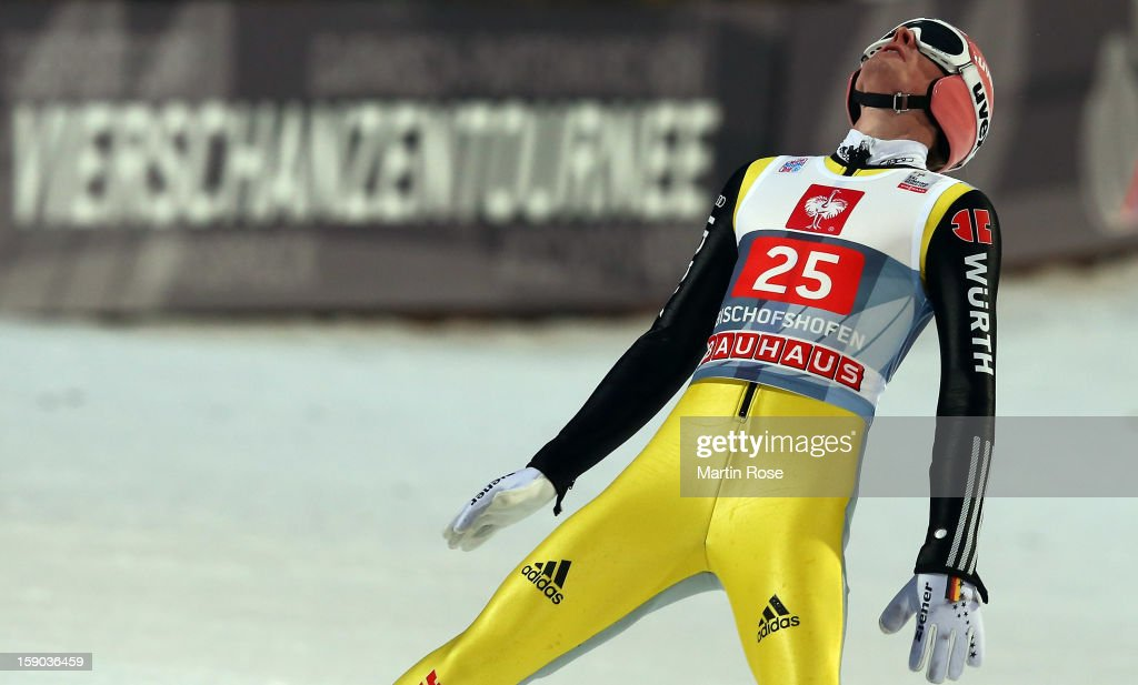 Severin Freund of Germany reacts during the final round of the FIS Ski Jumping World Cup event at the 61st Four Hills ski jumping tournament at Paul-Ausserleitner-Schanzeon January 6, 2013 in Bischofshofen, Austria.