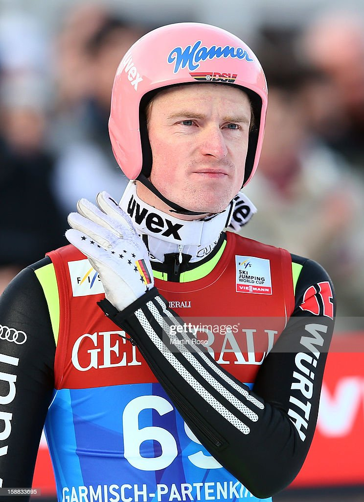 Severin Freund of Germany reacts during the qualification round for the FIS Ski Jumping World Cup event of the 61st Four Hills ski jumping tournament at Olympiaschanze on December 31, 2012 in Garmisch-Partenkirchen, Germany.
