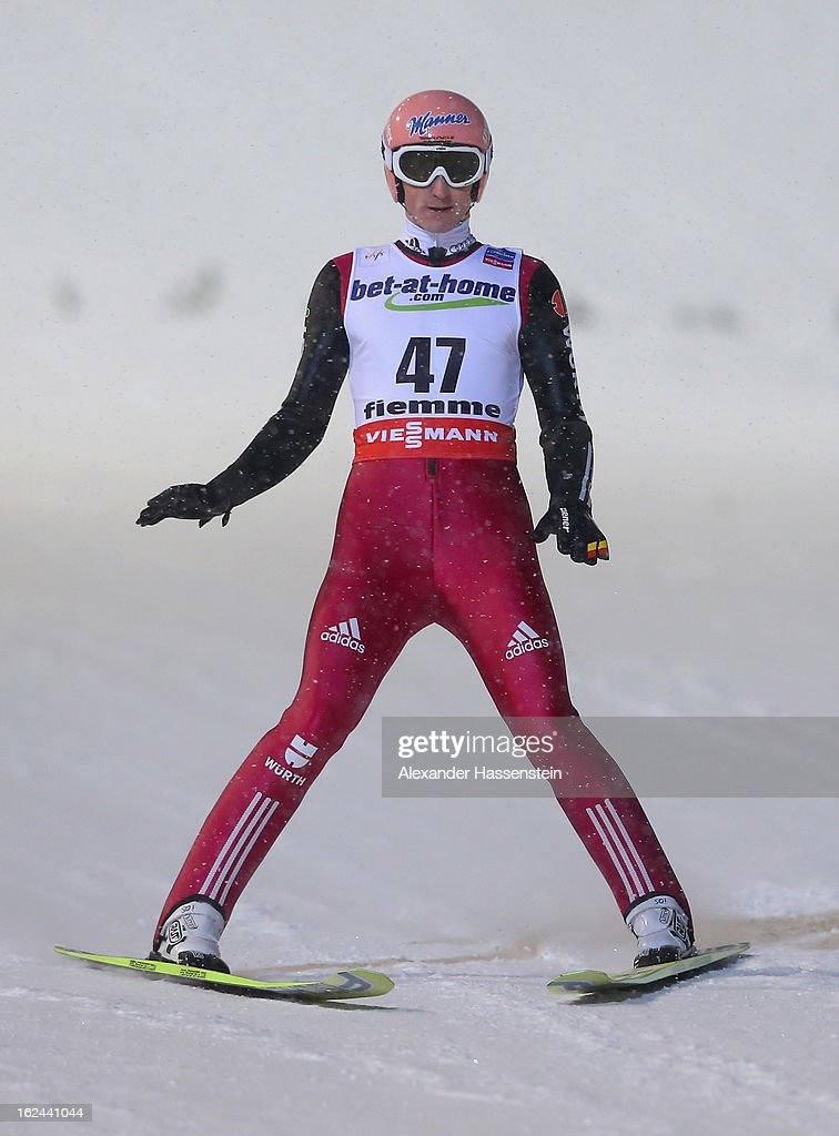 Severin Freund of Germany reacts to his jump during the Men's Ski Jumping HS106 Final Round at the FIS Nordic World Ski Championships on February 23, 2013 in Val di Fiemme, Italy.