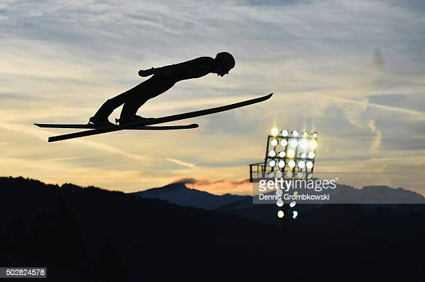 Severin Freund of Germany soars through the air during his trial jump on Day 2 of the 64th Four Hills Tournament event on December 29 2015 in...