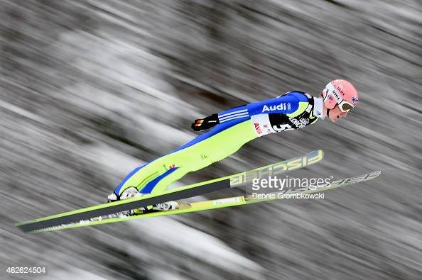 Severin Freund of Germany soars through the air during the FIS Ski Jumping World Cup on February 1 2015 in Willingen Germany