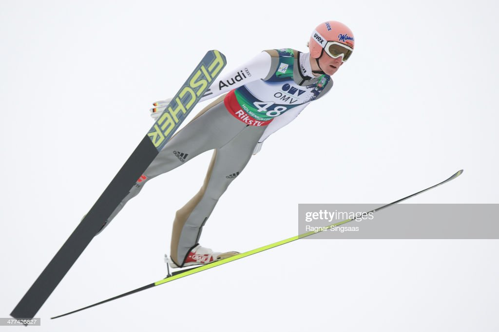 <a gi-track='captionPersonalityLinkClicked' href=/galleries/search?phrase=Severin+Freund&family=editorial&specificpeople=4780594 ng-click='$event.stopPropagation()'>Severin Freund</a> of Germany takes first place during the FIS Ski Jumping World Cup Men's HS134 on March 9, 2014 in Oslo, Norway.