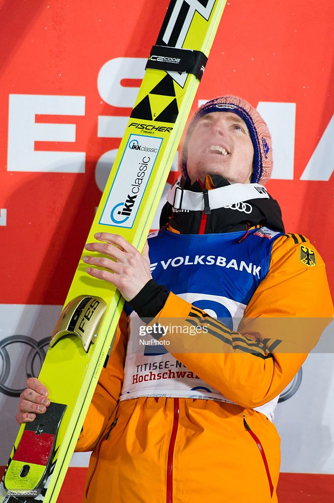 Severin Freund on the winners podium after the Large Hill Individual competition on day one of the FIS Ski Jumping World Cup on February 7 2015 in...