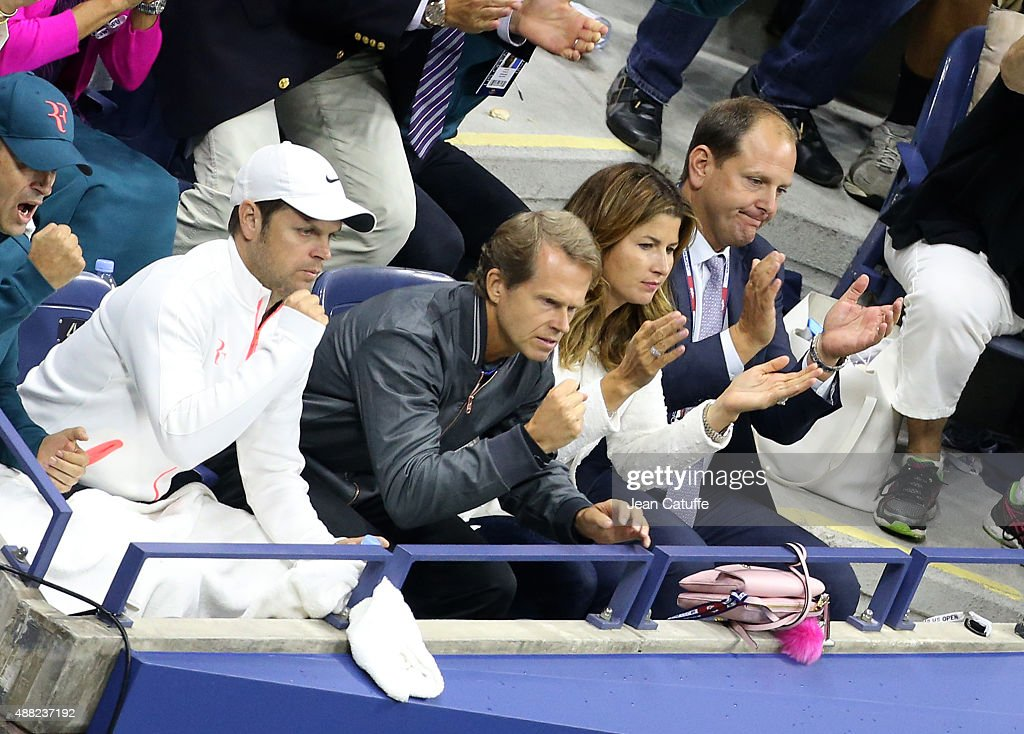 Severin Luthi, <a gi-track='captionPersonalityLinkClicked' href=/galleries/search?phrase=Stefan+Edberg&family=editorial&specificpeople=2249845 ng-click='$event.stopPropagation()'>Stefan Edberg</a>, coach of Roger Federer, <a gi-track='captionPersonalityLinkClicked' href=/galleries/search?phrase=Mirka+Federer&family=editorial&specificpeople=5876523 ng-click='$event.stopPropagation()'>Mirka Federer</a> his wife and Tony Godsick his agent react during the Men's Singles Final match on day fourteen of the 2015 US Open at USTA Billie Jean King National Tennis Center on September 13, 2015 in the Flushing neighborhood of the Queens borough of New York City.
