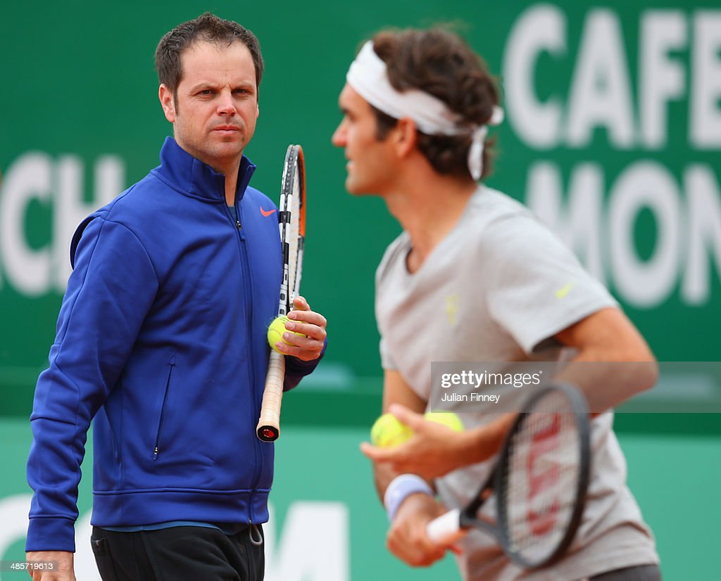 Severin Luthi, Switzerland Davis Cup captain watches on as finalists <a gi-track='captionPersonalityLinkClicked' href=/galleries/search?phrase=Roger+Federer&family=editorial&specificpeople=157480 ng-click='$event.stopPropagation()'>Roger Federer</a> and Stanislas Wawrinka of Switzerland practice before the final during day eight of the ATP Monte Carlo Rolex Masters Tennis at Monte-Carlo Sporting Club on April 20, 2014 in Monte-Carlo, Monaco.