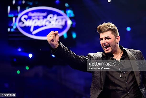 Severino Seeger reacts during the live finals of the television show 'Deutschland sucht den Superstar' on May 16 2015 in Bremen Germany Seeger was...