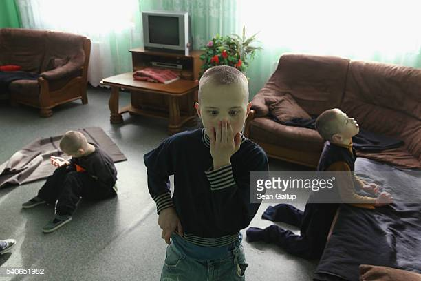 Severlyhandicapped boys with little cognitive ability while away an afternoon in their wing at the Vesnova Home for Invalid Children on April 3 2016...