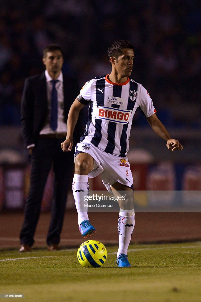Severo Meza of Monterrey controls the ball during a match between Monterrey and Pachuca as part of 2nd round Clausura 2015 Liga MX at Tecnologico...