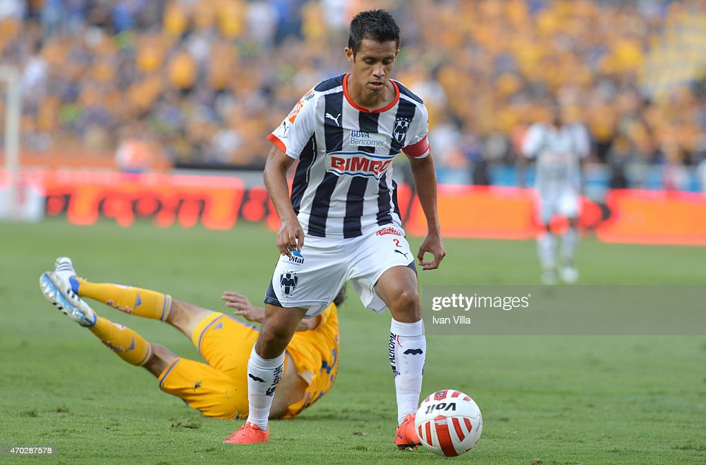 Severo Meza of Monterrey drives the ball during a match between Tigres UANL and Monterrey as part of 14th round Clausura 2015 Liga MX at...