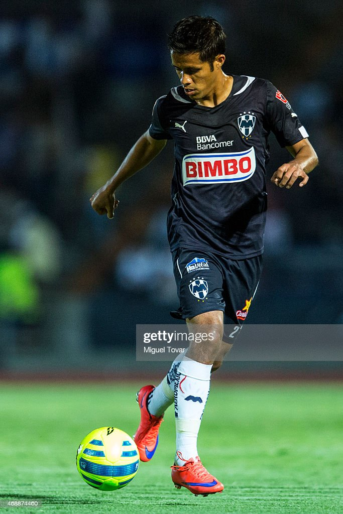 Severo Meza of Monterrey drives the ball during a semifinal match between Puebla and Monterrey as part of Clausura 2015 Copa MX at Olimpico...
