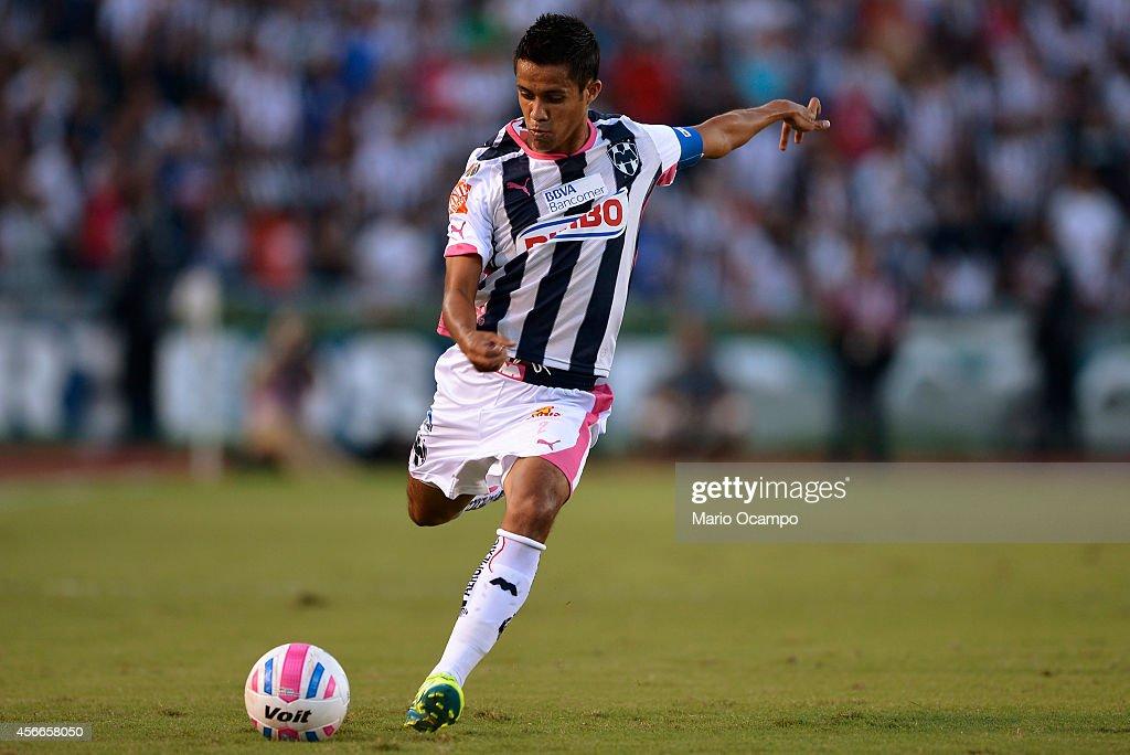Severo Meza of Monterrey kicks the ball during a match between Monterrey and Tijuana as part of 12th round Apertura 2014 Liga MX at Tecnologico...