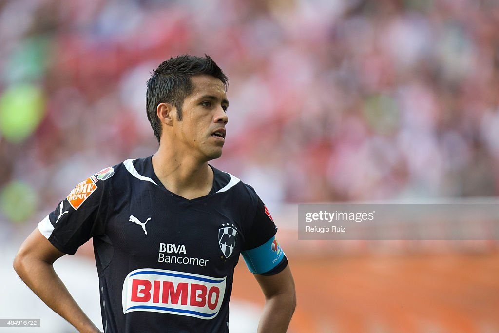 Severo Meza of Monterrey looks on during a match between Chivas and Monterrey as part of 8th round Clausura 2015 Liga MX at Omnilife Stadium on March...
