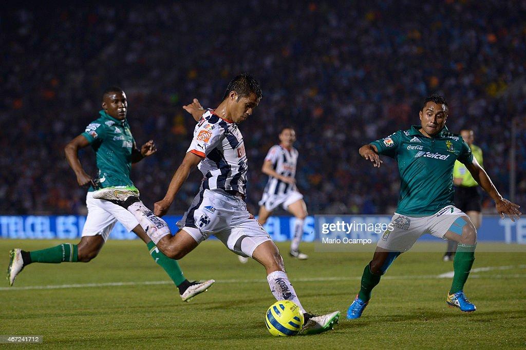 Severo Meza of Monterrey prepares to kick the ball during a match between Monterrey and Leon as part of 11th round Clausura 2015 Liga MX at...