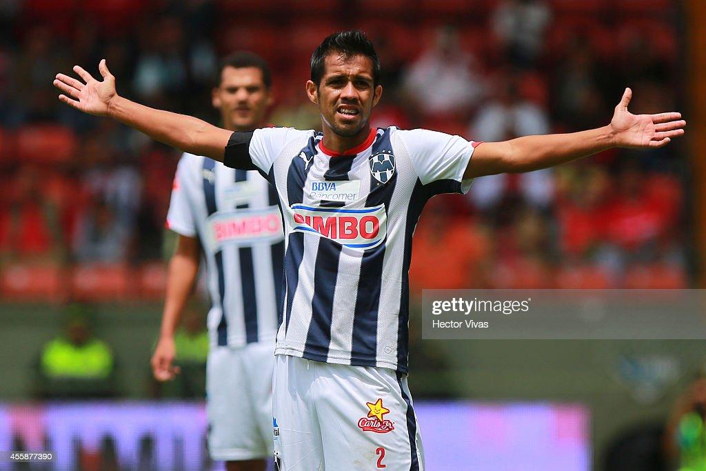 Severo Meza of Monterrey reacts during a match between Toluca and Monterrey as part of 9th round Apertura 2014 Liga MX at Nemesio Diez Stadium on...