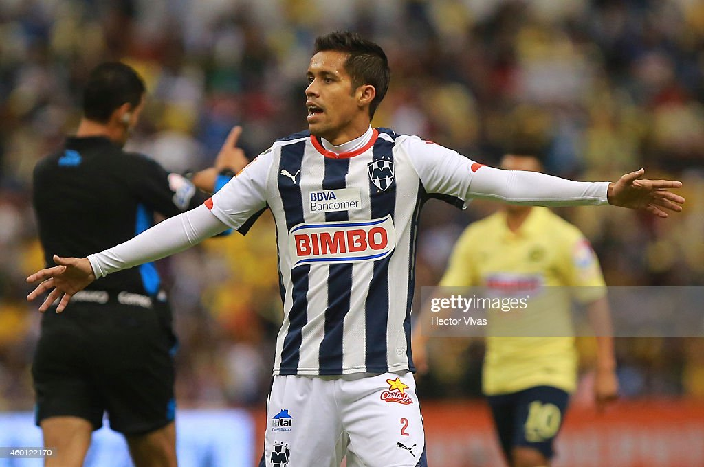 Severo Meza of Monterrey reacts during a semifinal second leg match between America and Monterrey as part of the Apertura 2014 Liga MX at Azteca...