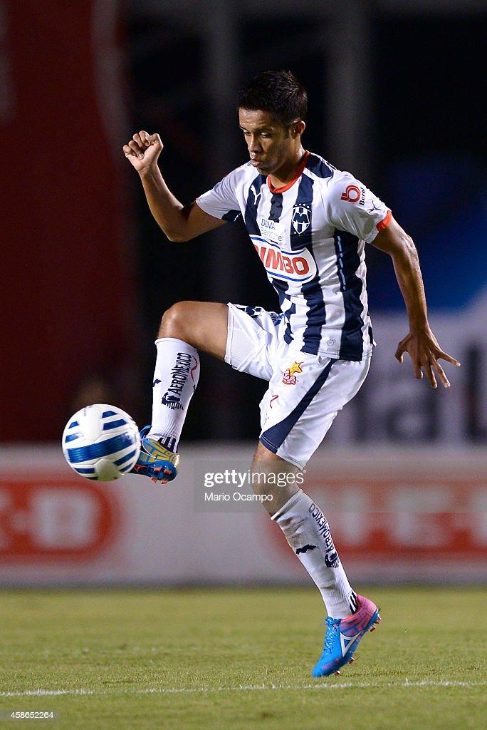 Severo Meza of Monterrey receives the ball during a match between Monterrey and Chiapas as part of 16th round Apertura 2014 Liga MX at Tecnologico...