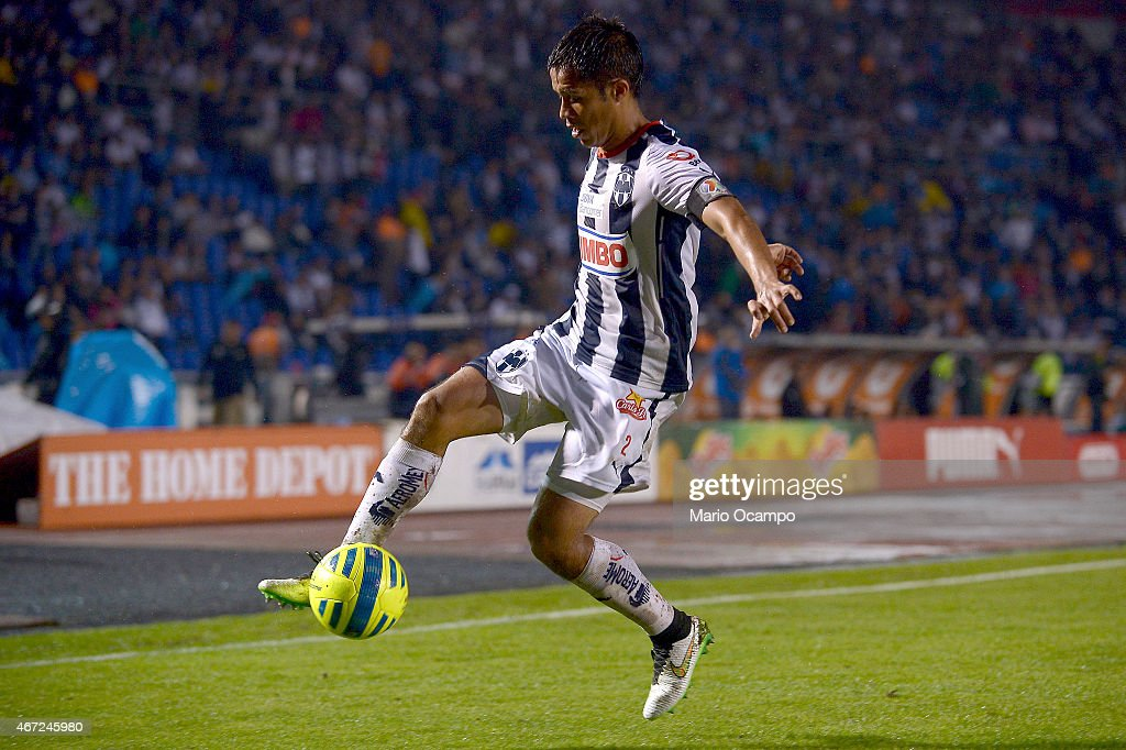 Severo Meza of Monterrey receives the ball during a match between Monterrey and Leon as part of 11th round Clausura 2015 Liga MX at Tecnologico...
