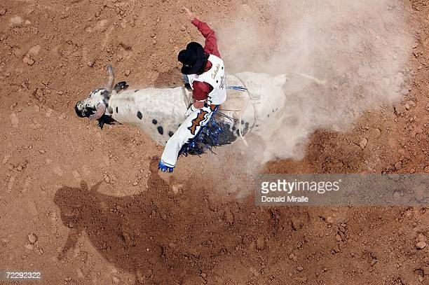 Sevi Torturo of the USA rides 'Western Show Time' during the Professional Bull Riders World Finals on October 28 2006 at Mandalay Bay Hotel and...