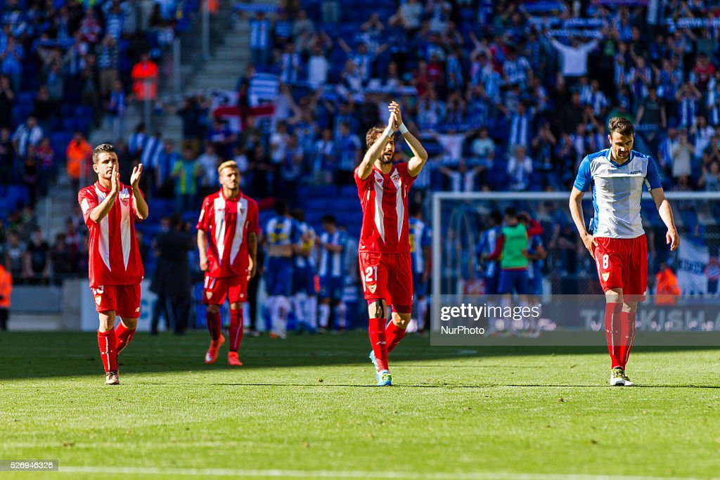 Sevilla CF players agree the support to the fans during the match between RCD Espanyol and Sevilla CF, for the round 36 of the Liga BBVA, played at RCD Espanyol Stadium on 1th May 2016 in Barcelona, Spain.