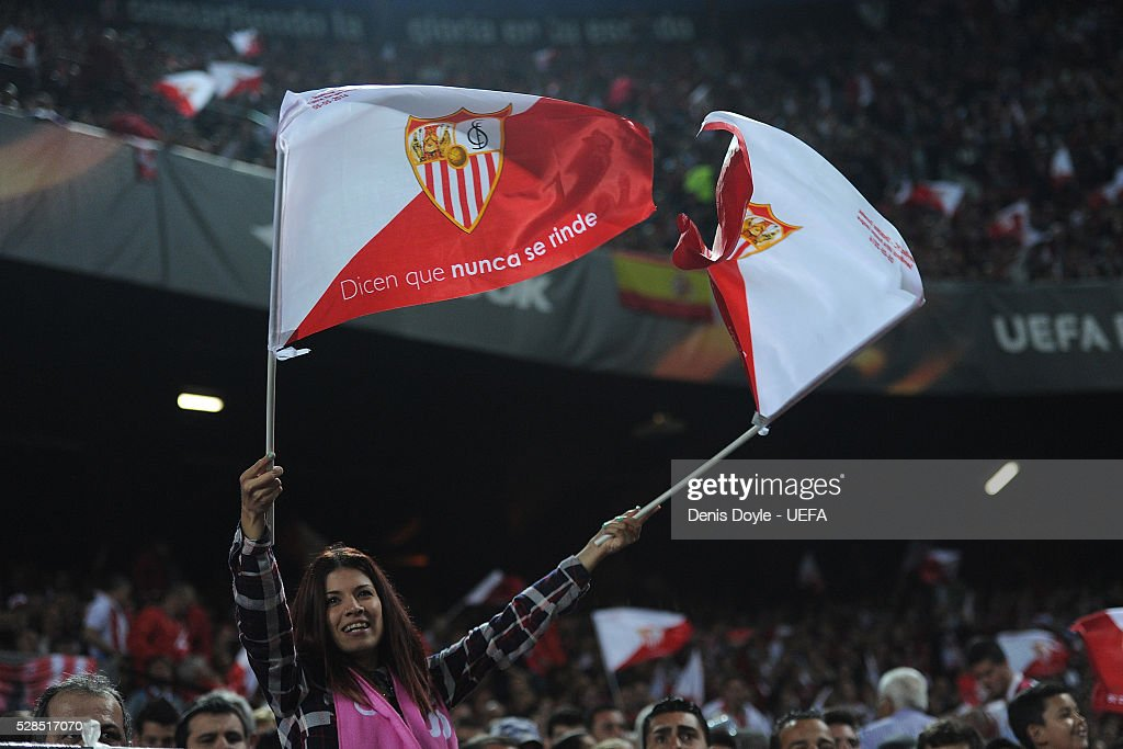 A Sevilla fan celebrate after they scored their 3rd goal n the UEFA Europa League Semi Final second leg match between Sevilla and Shakhtar Donetsk at the Sanchez Pizjuan stadium on May 5, 2016 in Seville, Spain.