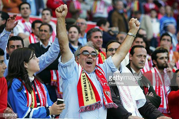 Sevilla fans celebrate during the UEFA Cup semi final secondleg match between Sevilla and Osasuna at the Sanchez Pizjuan stadium on May 5 2007 in...