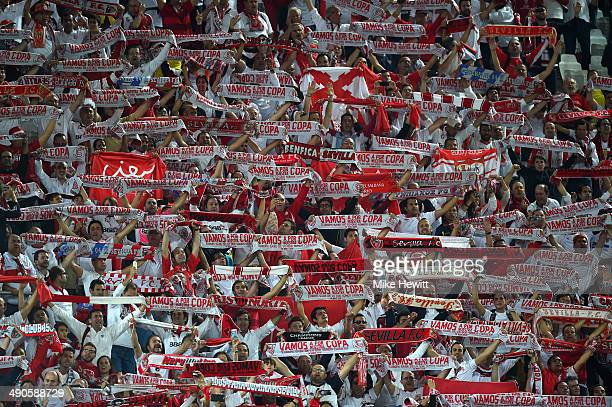 Sevilla fans show their colours during the UEFA Europa League Final match between Sevilla FC and SL Benfica at Juventus Stadium on May 14 2014 in...