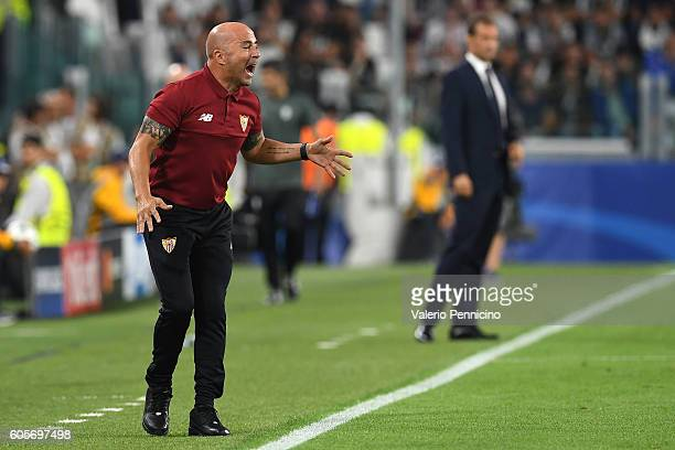 Sevilla FC head coach Jorge Sampaoli shouts to his players during the UEFA Champions League Group H match between Juventus FC and Sevilla FC at...