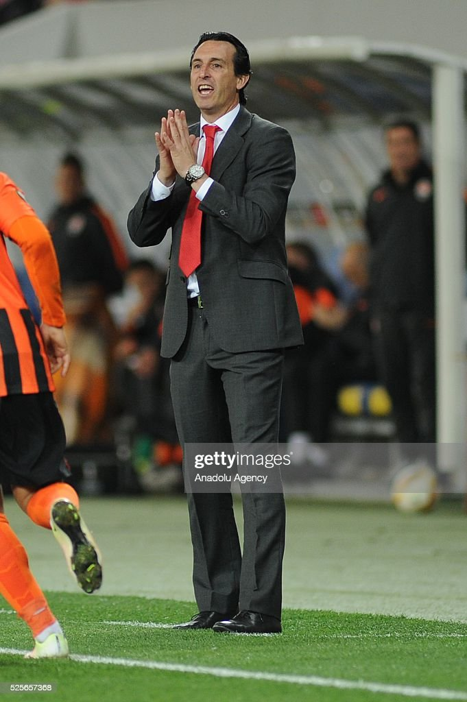 Sevilla FC head coach Unai Emery gestures during the UEFA Europa League Semi-finals soccer match between Shakhtar Donetsk and Sevilla FC at Lviv Arena stadium on April 28, 2016, in Lviv, Ukraine.