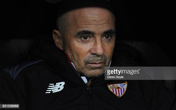 Sevilla FC manager Jorge Sampaoli looks on before the start of the Copa del Rey Round of 16 First Leg match between Real Madrid and Sevilla at...