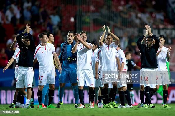 Sevilla FC players Ever Banega Denis Suarez goalkeeper Sergio Rico Grzegorz Krychowiak Timothee Kolodziejczak and Jose Antonio Reyes celebrates their...
