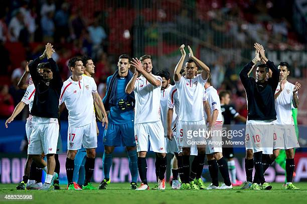 Sevilla FC players Ever Banega Denis Suarez goalkeeper Sergio Rico Grzegorz Krychowiak Timothee Kolodziejczak and Jose Antonio Reyes celebrates their...