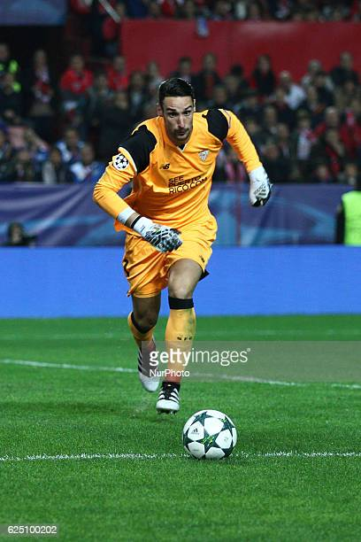 Sevilla goalkeeper Sergio Rico in action during the Uefa Champions League group stage football match n5 SEVILLA JUVENTUS on at the Stadio Ramon...