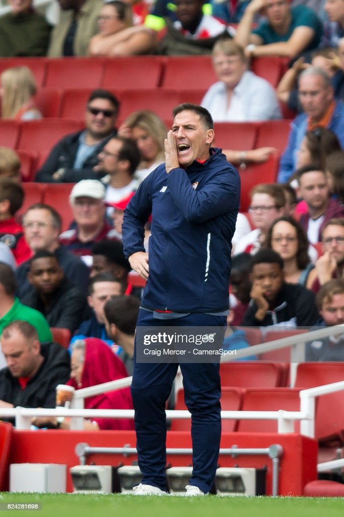 Sevilla manager Eduardo Berizzo during the Emirates Cup match between RB Leipzig and Sevilla FC at Emirates Stadium on July 29, 2017 in London, England.
