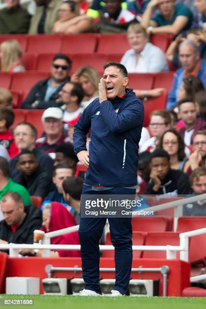 Sevilla manager Eduardo Berizzo during the Emirates Cup match between RB Leipzig and Sevilla FC at Emirates Stadium on July 29 2017 in London England