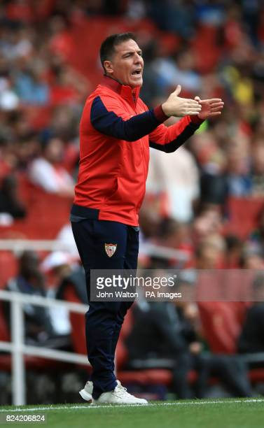 Sevilla manager Eduardo Berizzo gestures on the touchline during the Emirates Cup match at the Emirates Stadium London