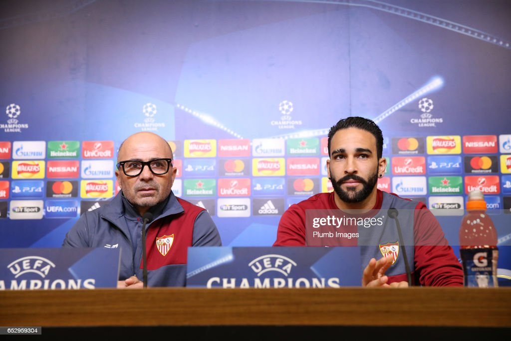 Sevilla manager Jorge Sampaoli and Adil Rami during the Sevilla press conference at King Power Stadium on March 13 , 2017 in Leicester, United Kingdom.