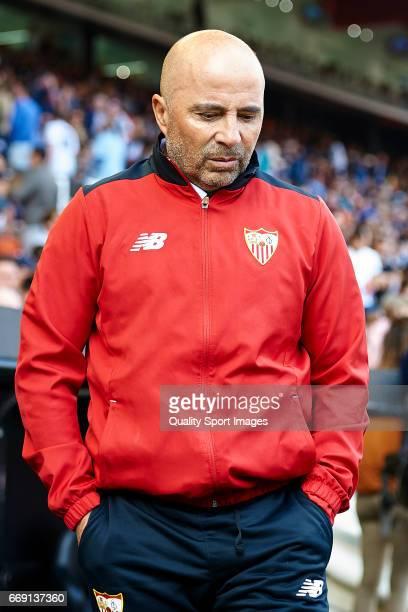 Sevilla manager Jorge Sampaoli looks on prior the La Liga match between Valencia CF and Sevilla FC at Mestalla Stadium on April 16 2017 in Valencia...